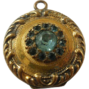 Victorian Era Gold Filled Teal Paste Locket