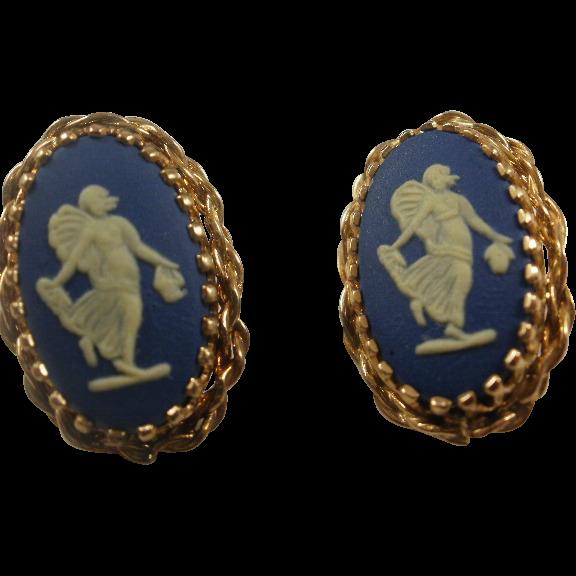 Vintage Wedgwood Gold Filled Pierced Earrings