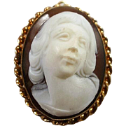 Fabulous High Relief Young Man Stone Cameo Pendant/ Brooch