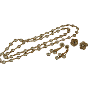 Swan Signed Swarovski Bezel Set Crystal Necklace and Earrings