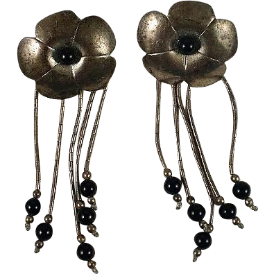 South Western Sterling Onyx Drop Flower Earrings