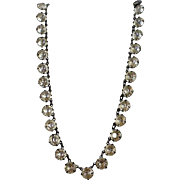Art Deco Open Back Sterling Crystal Stones Necklace