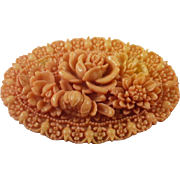 Large Molded Celluloid Cabbage Rose Brooch