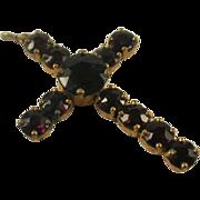 Gilt Brass Garnet Cross Pendant