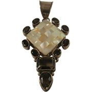 Large Sterling Quartz Inlay MOP Pendant