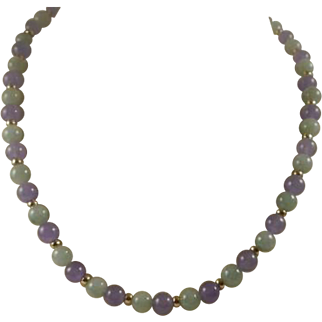 Gorgeous 14k Jadeite and Amethyst Bead Necklace