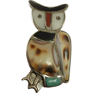Large Southwestern Sterling Inlay Owl Pendant/Brooch