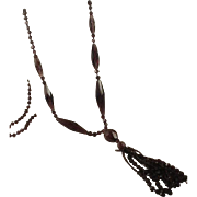 Flapper Era Long Amethyst Glass Tassel Necklace