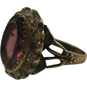Art Deco Era Sterling Synthetic Amethyst  & Paste Ring