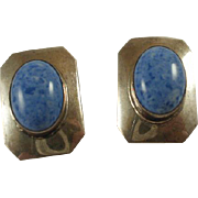 Vintage Southwestern Sterling Sodalite Clip-On Earrings