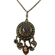 Vintage Silver Toned Charm Pendant on Long Watch Style Chain