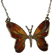 Vintage Sterling Enamel Providence Stock Co Butterfly Necklace