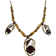Retro Era Gold Filled Synthetic Garnet Drop Necklace