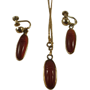 Vintage Gold Filled Carnelian Scarab Pendant and Earring Set