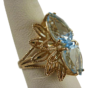 Gorgeous Vintage 14k Topaz Cocktail Ring