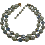 Vendome Light Blues Crystal Double Strand Necklace