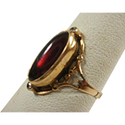 Art Nouveau 14k Garnet Diamond Ring~ 8 1/2