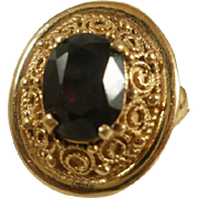 Etruscan Revival 14k Garnet Ring ~ 8 1/2