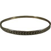 Vintage Chased Sterling Bangle Bracelet