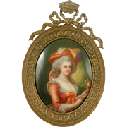 Gorgeous Hand Painted Porcelain Portrait In Bronze Frame