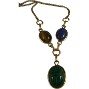 Retro Era Gold Filled Scarab Necklace