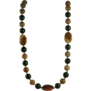 Polished Jasper and Agate Bead Necklace