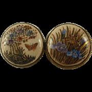 Vintage Satsuma Button 10k Brooch