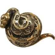 Large Sterling Studio Made Coiled Snake Pendant/Brooch