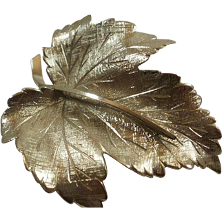 Large Wells Sterling Leaf Brooch