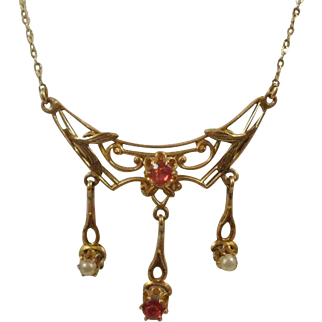 Gorgeous Vintage Ruby Pearl Gold Lavalier Necklace