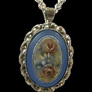 Hand Painted Satin Glass Rhodium Plated Pendant