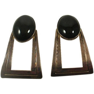 Artist Signed Native American Sterling Onyx Earrings