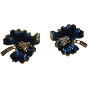 Excellent Vintage Trifari Pave Fly on Enamel Leaf Earrings