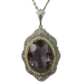Large Edwardian Amethyst Seed Pearl Rhodium Plated Filigree Pendant