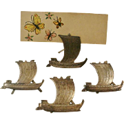 Set of 4 Japanese 950 Silver Place Card Holders