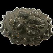 Victorian Gutta Percha Acorn and Oak Leaf Brooch
