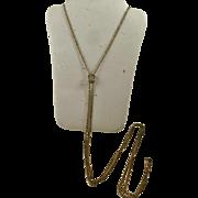 Vintage Ladies Fiery Opal & Pearl Gold Filled Slide Watch Chain