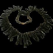 Massive Long Black Branch Coral Statement Necklace