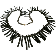 Massive Long Black Branch Coral Statement Necklace