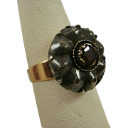 Early Georgian Silver and Gold Garnet Ring ~8
