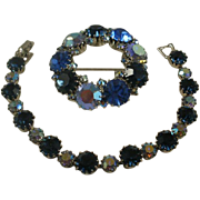 Vintage Weiss Bracelet and Brooch Set AB Blues