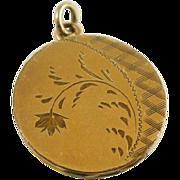 Vintage Etched Gold Filled Locket Fob