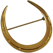 Art Deco Era Large Gold Filled Horse Shoe Brooch