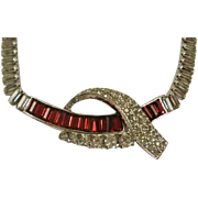 Jomaz Red and Clear Baguette Rhodium Plated Necklace