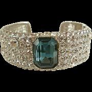 Excellent KJL Clear Pave & Sapphire Crystal Cuff Bracelet