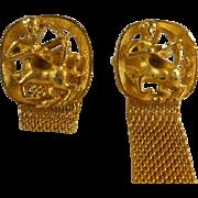 Vintage Sagittarius Mesh Gold Toned Wrap Cuff Links