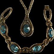 Vintage Simmons Blue Glass Bracelet and Necklace Set