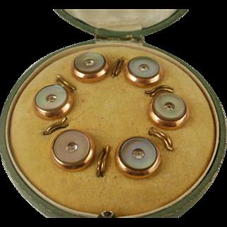 Victorian Era Rose Gold Filled MOP Shirt Button Set