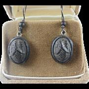 Victorian Era Bog Oak & Gutta Percha Earrings