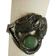 Fabulous Chinese Signed Dragon Chasing Jade Wisdom of Pearl Ring